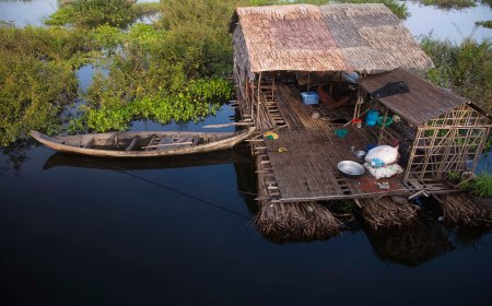 Floating Village Family Homestead Back Door View- Cambodia
