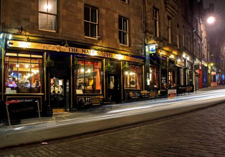 Edinburgh night street scene.