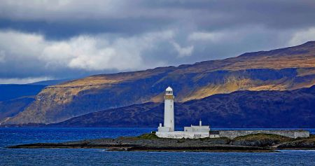 Lighthouse on the way to Mull Island - love the colors and shadows.